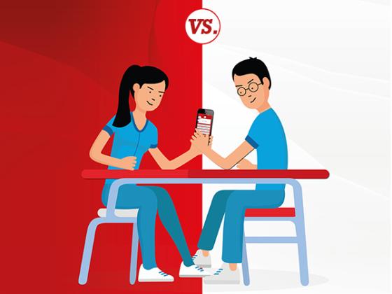 Modo duelo de la app para estudiantes de odontología.